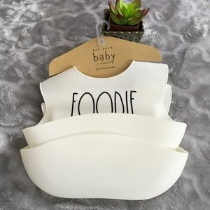 Rae Dunn Baby Set of 2 Silicone Bibs Foodie & Yum